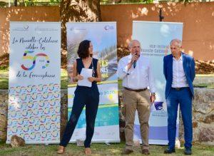 Discours de Yohan LECOURIEUX , membre du gouvernement de la Nouvelle-Calédonie en charge de la francophonie, M. Erick ROSER vice-recteur-directeur général des enseignements, Valérie MEUNIER, directrice du CREIPAC.
